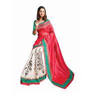 Ishin Printed Bhagalpuri Silk Saree - White-Red