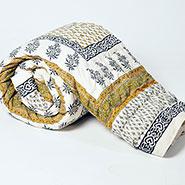 Little India Jaipuri Designer Printed Cotton Double Bed AC Quilt - Greenish on White Base