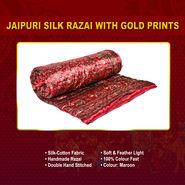 Jaipuri Silk Razai with Gold Prints