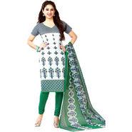 Javuli Printed Cotton Dress Material - White & Green