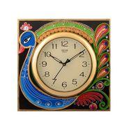Wooden Papier Mache Peocock Design Artistic Wall Clock-KWC537