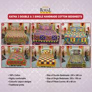 Katha 3 Double & 3 Single Handmade Cotton Bedsheets