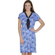 Klamotten Cotton Printed Nighty - Blue - X130_Pr_Blue