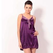 Klamotten Satin Plain Nightwear - Purple - YY56