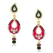Kriaa Austrian Stone Kundan Earrings - Green & Purple _ 1304627