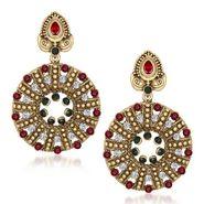 Kriaa Austrian Stone Pearl Gold Earrings - Red & Green _ 1305503