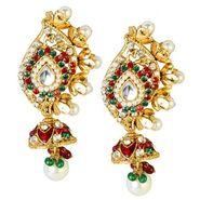 Kriaa Austrian Diamond Meenakari Pearl Earrings - Red & Green _ 1300126