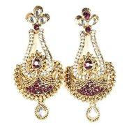 Kriaa Austrian Stone Kundan Earrings - Purple _ 1300220