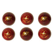 AVM Paxton Pack Of 6 Red Leather Cricket Ball - Standard