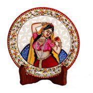 Pure Marble Handpainted Jaali pattern Decorative  Plate-MAR15338