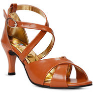 Meriggiare Synthetic Leather Tan Stilettos -Mgfh4000D
