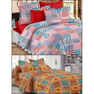 Set of 2 Double Bedsheet with 4 Pillow Covers-MO-141_157