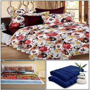 Storyathome 8 Pcs Combo Of Premium Quality Cotton Double Bedsheet, 3D Print Double Bedsheet And Cotton Bath Towels-MP_1202-PC1402-TW_2-1207-X