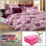 Storyathome 8 Pcs Combo Of Premium Quality Cotton Double Bedsheet, 3D Print Double Bedsheet And Cotton Bath Towels-MP_1203-PC1403-TW_2-1202-X