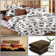 Storyathome 8 Pcs Combo Of Premium Quality Cotton Double Bedsheet, 3D Print Double Bedsheet And Cotton Bath Towels-MP_1206-PC1404-TW_2-1208-X