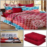 Storyathome 8 Pcs Combo Of Premium Quality Cotton Double Bedsheet, 3D Print Double Bedsheet And Cotton Bath Towels-MP_1208-PC1405-TW_2-1215-X