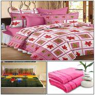Storyathome 8 Pcs Combo Of Premium Quality Cotton Double Bedsheet, 3D Print Double Bedsheet And Cotton Bath Towels-MP_1214-PC1407-TW_2-1202-X