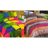 Set of 2 Multicolor Poly Cotton Double Bedsheet with 4 Pillow Covers -NLD-7-13_14