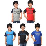 Oleva Combo Of 5 Kids T-Shirts For Boys ONKT_B