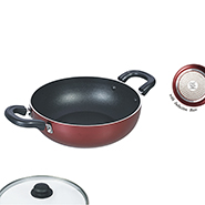 Ok Induction Base Deep Kadai with Glass Lid-IND DK2 - Cherry Red