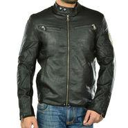 Branded Regular Fit Leather Jacket_Os22 - Black