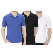Pack of 3 Oh Fish Plain Polo Neck Tshirts_P3blkwhtblu