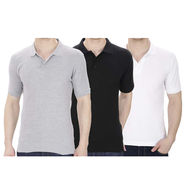 Pack of 3 Oh Fish Plain Polo Neck Tshirts_P3blkwhtgry