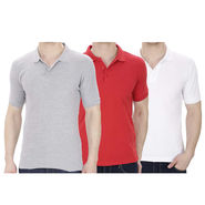 Pack of 3 Oh Fish Plain Polo Neck Tshirts_P3grywhtred