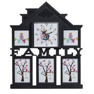 Black Unique Collage Photoframe cum Clock