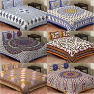 Set of 6 Jaipuri Cotton king size  Double Bedsheets With 12 Pillow Covers-PF1D6BWP