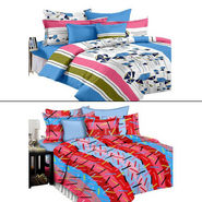 Set of 2 PARAS FASHIONS Cotton Printed Double Bed sheets With 4 Pillow covers-PFJDBCOM2019
