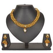 Pourni Stylish Brass Necklace Set_PRNK132 - Golden