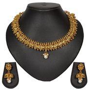 Pourni Stylish Brass Necklace Set_Prnk21 - Golden