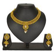 Pourni Stylish Brass Necklace Set_Prnk60 - Golden