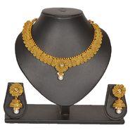 Pourni Stylish Brass Necklace Set_Prnk68 - Golden