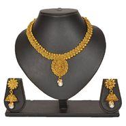 Pourni Stylish Brass Necklace Set_Prnk81 - Golden