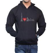 Effit Printed Regular Fit Full Sleeves Cotton Hoddies for Men - Black_PTLHODY0009