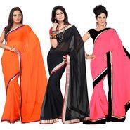 Pack of 3 Silkbazar Plain Chiffon Saree-feb_noor_9