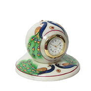 eCraftIndia Peacock Designed Marble Table Clock - Multicolor