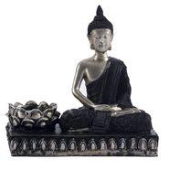Silver & Black Finish Beautiful Buddha Showpiece-REF1537
