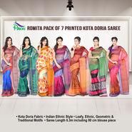 Romita Pack of 7 Printed Kota Doria Sarees (7K9)