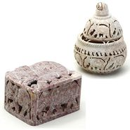 Set of 2 Elephant carved Multiutility Box-SA1410_SA1421