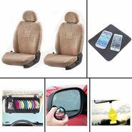 COMBO of Car Seat Cover HatchBack-Beige, DVD Holder, Freshner, Blind Spot Mirror and Non-Slip Dash Mat