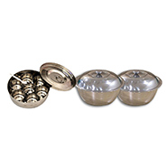 VOX Combo of Stainless Steel Masala Box with 2 Serving Bowls