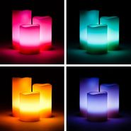 Set of 3 Scented Colour Changing LED Candles with Remote Control