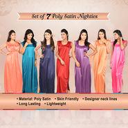 Set of 7 Poly Satin Nighties
