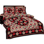 Shop Rajasthan Jaipuri print double bed sheet with Two Pillow Covers-SRA2772