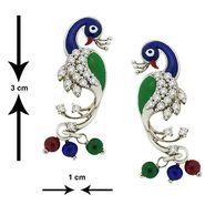 Spargz Enamel CZ Stone American Diamond Earrings - White _AIER144