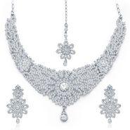 Sukkhi Exquitely Rhodium Plated Necklace Set - White - 2125NADM1900