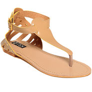 Synthetic Leather Beige Sandals -11Beg02